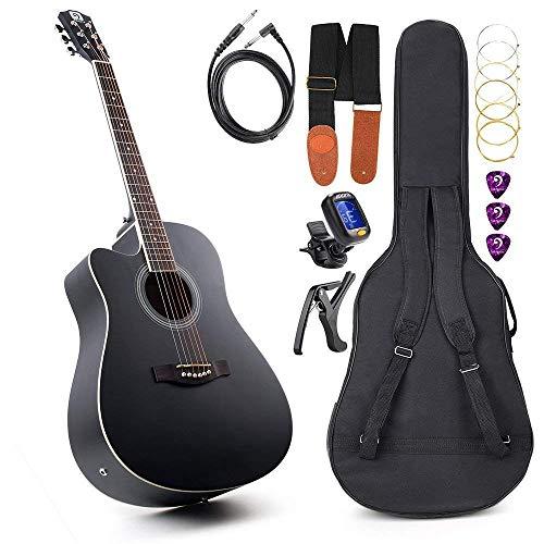 Gitarre für Linkshänder Akustische elektrische Cutaway-Gitarre 41 Zoll Anfängerkit in Originalgröße Professionelle schwarze Gitarre für Linkshänder von Vangoa