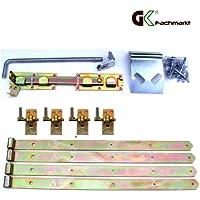 Zauntor-Beschlagsortiment mit einstellbaren Stützhaken, Ladenbändern & Überwurf