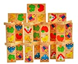 PIGLOO™ Wooden Multicolor Animal Cartoons Domino Set for Kids Toddlers, 28 Pcs, 3+ Years
