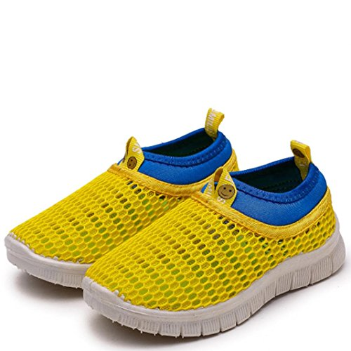 QinMM Sommer Kinder Baby Unisex Schuhe Candy Farbe Stoff Mesh Casual Sport Turnschuhe Strand Schuhe Slip-on Weiß Gelb Grau Rot Blau 21-35 (21 EU, Gelb)