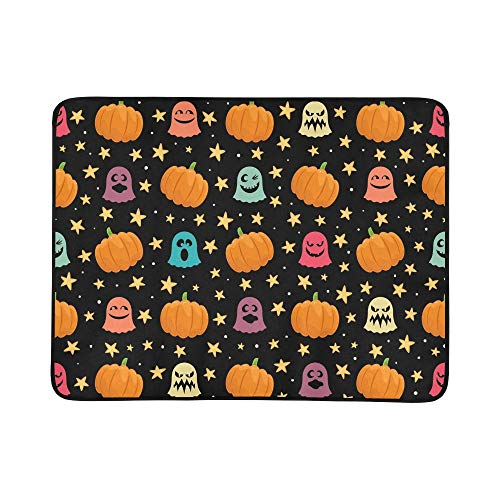 EIJODNL Halloween Pumpkins Cute Ghosts Portable and Foldable Blanket Mat 60x78 Inch Handy Mat for Camping Picnic Beach Indoor Outdoor Travel (Halloween Wallpapers Ghost)