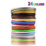 3D Stift Filament 24 Farben 3M PLA Filament 1.75mm 3d stifte farben für 3D Stift, kompatibel mit ODRVM, Tipeye, Uvistare, Lovebay, PLUSINNO, QPAU, Canbor, Juboury, Nexgadget und dikale 3d Pen 3D Druckstift von MKOEM