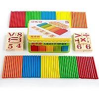 Kentop Niños Montessori matemáticas Juguete Contar Sticks Educación Madera Juguete Edificios Inteligencia Bloques con Caja de Hierro