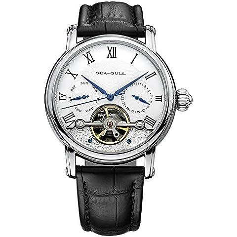 sea-gull gabbiano orologio 819.383 uomini moda automatico in acciaio meccanico impermeabile zaffiro sintetico cinturino in (Riserva Orologio Di Lusso)