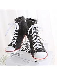 JQNSX Baskets Femmes Chaussures à Talons Hauts Chaussures De Toile Haute  Pompe Lacets Compensées Chaussures e42bd7b17adc