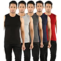SOLO Men's Cotton Sleevesless Round Neck Short Crew Undershirt Vest (Multicolour, Medium) - Pack of 5