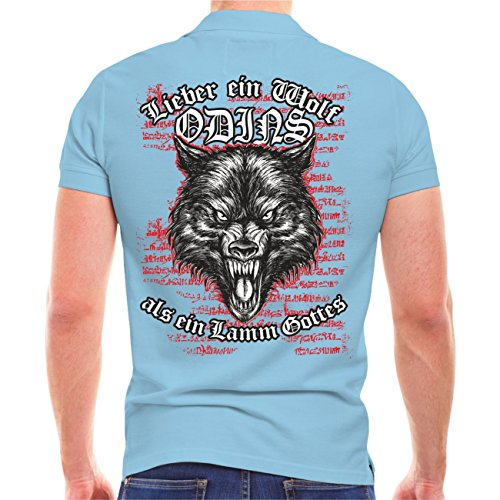 Männer und Herren POLO Shirt Wolf Odins (mit Rückendruck) Hellblau