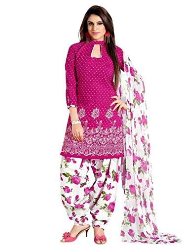 DivyaEmporio Cotton Self Print Salwar Suit Dress Material (CS-65_Pink)