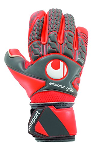 uhlsport Erwachsene Torwarthandschuhe Aerored Absolutgrip Finger Surround, Dark grau/Fluo rot/weiß, 8, 101105402 -