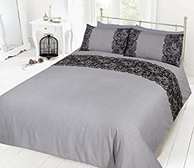 Pieridae Lace Black Duvet Cover & Pillowcase Set Bedding Digital Print Quilt Case Single Double King Bedding Bedroom Daybed produced by Pieridae - quick delivery from UK.