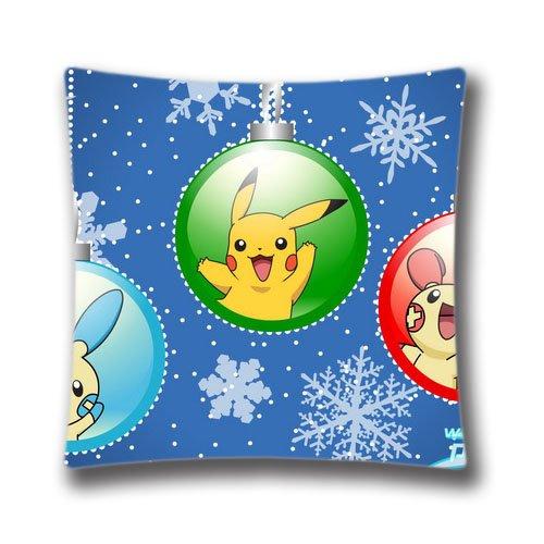Merry Christmas Taie d'oreiller Pokémon Pikachu Couvre-lit Taie d'oreiller coloré Balles décoratifs Arbre de Noël Super Doux Taie d'oreiller 45,7x 45,7cm Housse de coussin