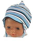 Maximo Jungen Baby-Mütze mit Schirm Ringel Hellblau, Gr. 41,UV-Schutz 50+ (41)