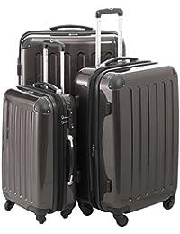 HAUPTSTADTKOFFER - Alex - Handgepäck Hartschalen-Koffer Trolley Rollkoffer Reisekoffer Erweiterbar, 4 Rollen, TSA, 55 cm, 42 Liter, Schwarz