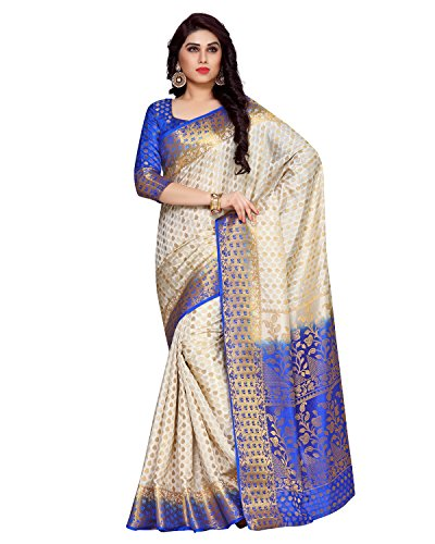 MIMOSA Art Silk Saree With Blouse Piece(4136-198-2D-Hwt-Rblu_Off-White Free Size)