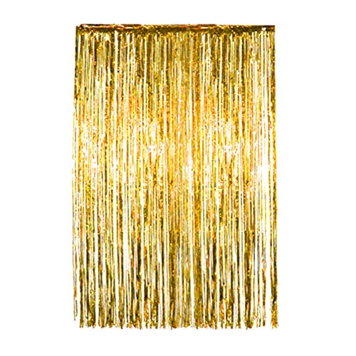 Glänzende Metallic-Folien-Vorhang, Hintergrund-Dekoration, Vorhang Tür & Fenster, Party Champagner Motto für Halloween, Weihnachten, Geburtstag, Hochzeit, Party, Gold,