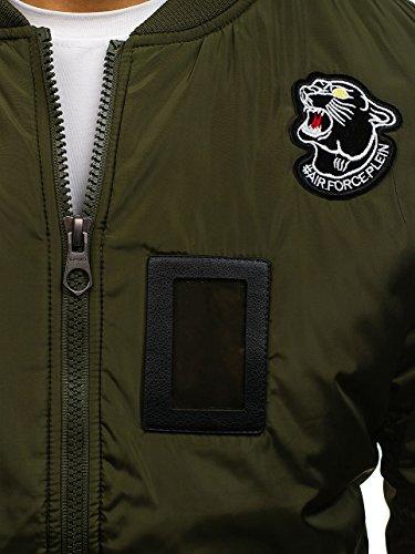 BOLF Herren Bomberjacke Military Camo-Muster MIX Grün_J906