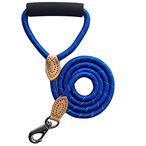 FELBO Hund Leine 5T Reflektierende Leine für Night Sicherheit Nylon Seil Klein Medium Große Hunde Weich Gepolstert Griff Führt, Blau -