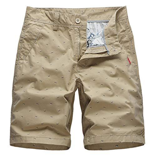 GreatestPAK Herren Cargo Shorts Sommer Outdoor Loose Fit Einfarbig Drucken Gewaschen Sport Kurze Hosen,Khaki,EU:L(Tag:36) Mac Cord