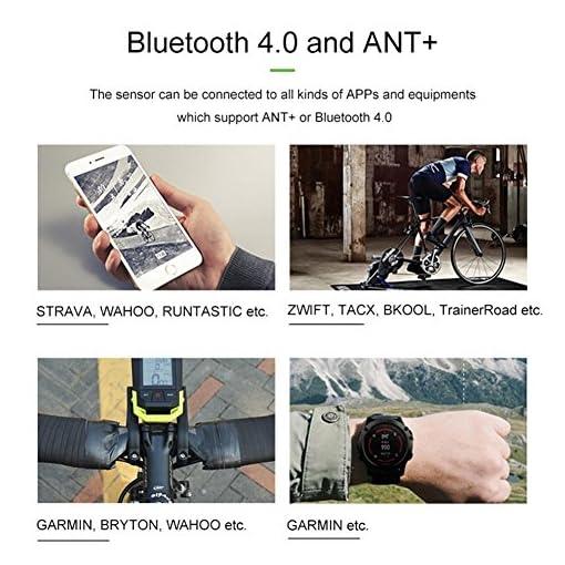 PROKTH Sensore velocità e Cadenza Bici 2 in 1 Ant + Bluetooth Multiprotocollo, Resistente all'Acqua,Nero