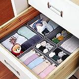 Homfa 6 Stück Aufbewahrungsbox Stoff Set faltbar Unterwäsche Socken Organizer Ordnungsbox Faltbox Stoffbox für Schubladen Ordnungssystem grau Vergleich