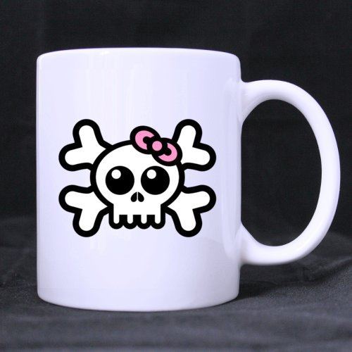 kopf Halloween Girl weiß (Zwei Seite) Custom Weiß Keramik Kaffee Tasse (11Unze) ()