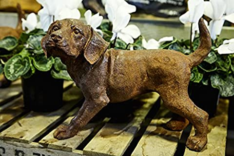 Cast Iron Puppy Dog Statue in Rust/Garden Animal Ornament/Labrador Home Feature