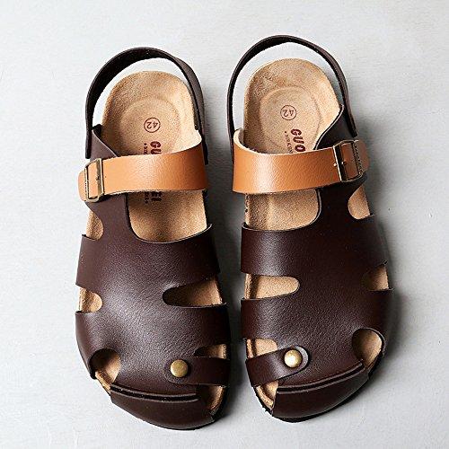 Pantofole in sughero per spiaggia piatte ( Colore : 3 , dimensioni : EU43/UK9/CN44 ) 2