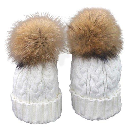 Clode Baby Mütze Mutter und Baby Winter Häkelarbeit Hut Pelz Wolle warme Kappe Strick (Weiß)
