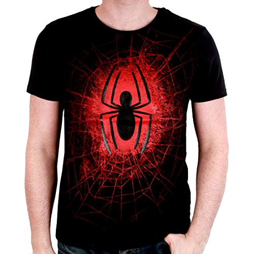 Spider-Man Men's T-Shirt Logo Web spider web Marvel cotton black - S