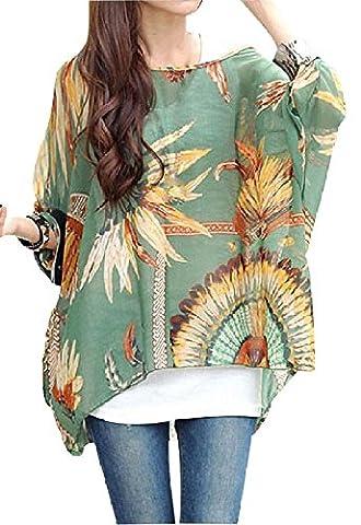 Femme T-shirt Bohème Hhippie Tops en mousseline de soie Batwing Manches 3/4 Tops Imprime en tulle Chemisier - 04
