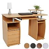 Schreibtisch Computertisch Bürotisch mit Tastaturauszug, 2 Schubladen & Monitorplattform (Farbwahl)