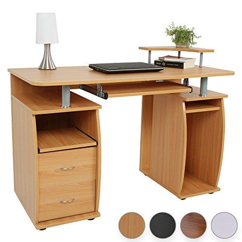 Miadomodo-Schreibtisch-Computertisch-mit-Tastaturauszug-2-Schubladen-Monitorplattform-Farbwahl
