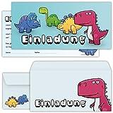 beriluDesign Dino Einladungskarten Jungen zum Geburtstag für Kinder Jungs Mädchen