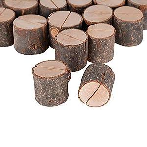 AONER 20 Stück Tischkartenhalter Fotohalter Holz Kartenhalter Hochzeit Platzkartenhalter Memohalter Sitzkartenhalter Tischnummernhalter für Hochzeit
