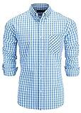 Emiqude Chemise à Carreaux à Manches Longues pour Homme 100% Coton Coupe Slim - Bleu - Medium
