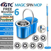 GTC Floor Cleaning Stainless Steel Dryer Bucket Mop with 6 Refills Color May Vary (Made in India)