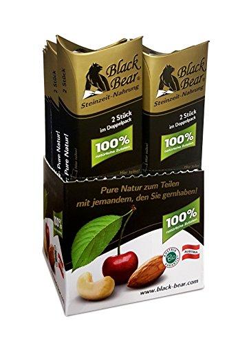 Black Bear Steinzeit-Nahrung Spenderbox, 10 Doppelpackungen, bio, vegan, roh, glutenfrei nur 135kcal pro Stück