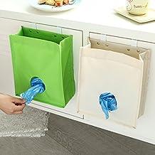 SwirlColor Holder Canvas Grocery Bag & Dispenser immondizia sacchetto dell'organizzatore Trash Borse di riciclaggio contenitori per la cucina - Albicocca