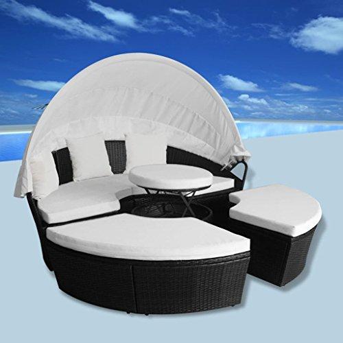 Gartensofa Sonnenliege 11-TLG. Rund Poly Rattan Schwarz 2-in-1 Lounge-Set Gartenliege Mit Gasfeder...