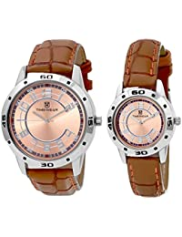 Timewear Analog Brown Dial Unisex Couple Watch - 903Bdtcouple