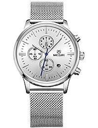 Para hombre m2011gs inoxidable negocio Formal de aleación de acero calendario cuarzo reloj de pulsera para hombre, color plateado