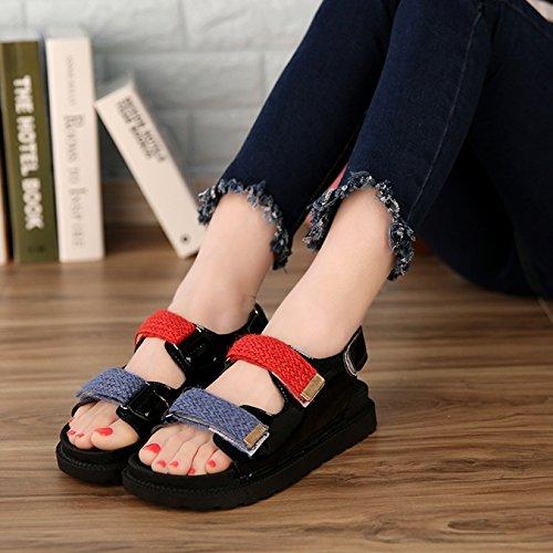 Lgk & fa estate sandali da donna estate morbido fondo colore fondo piatto tacco basso sandali antiscivolo scarpe per donne in gravidanza gules