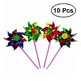 TOYMYTOY 10 unids Plástico Molino de viento Molinete Viento Spinner Kids Toy Garden Lawn Party Decor