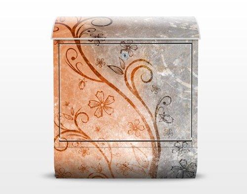 Design Briefkasten Dignity   Ranken Schnörkel Blüten Blumen Bunt, Postkasten mit Zeitungsrolle, Wandbriefkasten, Mailbox, Letterbox, Briefkastenanlage, Dekorfolie - 2