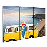 bilderfelix® Bild auf Leinwand VW Bulli T1 Bus Surfboard