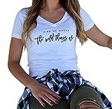 BA Zha HEI Elegant Mode Frauen Kurzarm Brief Gedruckt Bluse Sehr Angenehm Zu Tragen Weiches Material Damen T-Shirt Rundhals Kurzarm Ladies Sommer Casual Oberteil Locker Bluse Tops (Weiß, S)