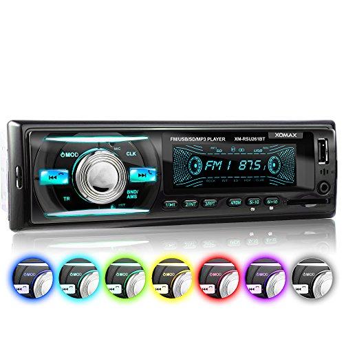 XOMAX XM-RSU261BT Autoradio ohne CD-Player + Bluetooth-Freisprecheinrichtung & Musikwiedergabe + 7 Farben einstellbar (Rot, Blau, Grün uvm.) + USB-Anschluss (bis 128 GB) & SD-Kartenslot (bis 128 GB) für MP3 und WMA + AUX-IN + Single-DIN / 1-DIN Standard Einbaugröße + inkl. Fernbedienung & Einbaurahmen