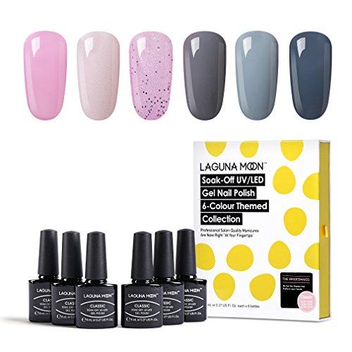 Lagunamoon UV Lack, Nagellack Set für Nageldesign Gel UV LED, 6 Stück Maniküre set, Nägel gel Gellack Soak off für Nail Art - 007
