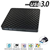 【Neue Version 】USB3.0 DVD-RW DVD/CD Brenner Slim extern Laufwerk Portable DVD CD Brenner, QinYun Superdrive für alle Laptops/Desktop z.B Lenovo,Acer,Asus,PC unter Windows und Mac OS für Apple Macbook, Macbook Pro, MacbookAir, iMac – Schwarz