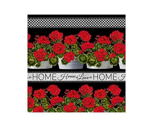 Timeless Treasures Tissu à Fleurs importé des États-Unis avec des géraniums, Collection : Florals